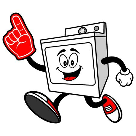 Clothes Dryer Running with a Foam Finger