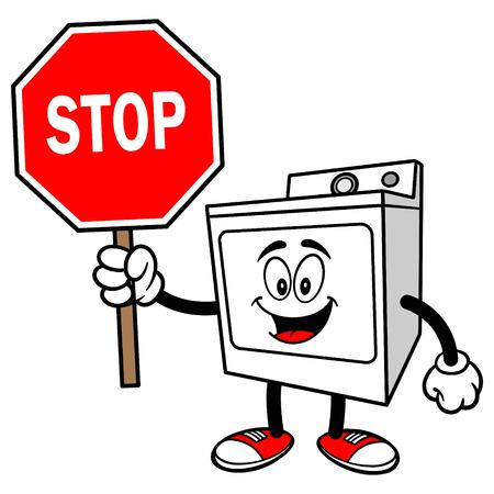 dryer: Clothes Dryer with a Stop Sign