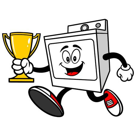 Clothes Dryer Running with a Trophy Stock Illustratie