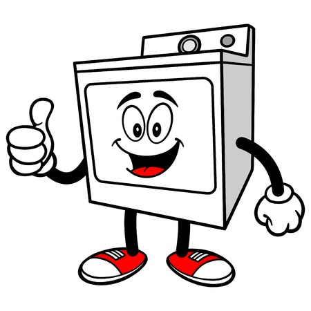 Clothes Dryer with Thumbs Up Illustration