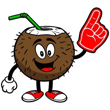 폼 핑거가 든 코코넛 음료