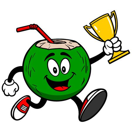 winning location: Coconut Water Running with Trophy Illustration