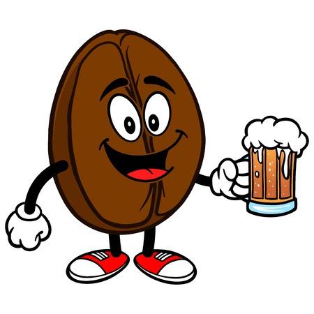 Kaffeebohne mit Bier Standard-Bild - 57291761