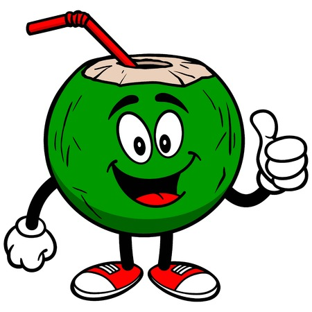 coconut water: Coconut Water with Thumbs Up Illustration