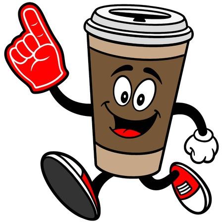 foam finger: Coffee Running with Foam Finger Illustration