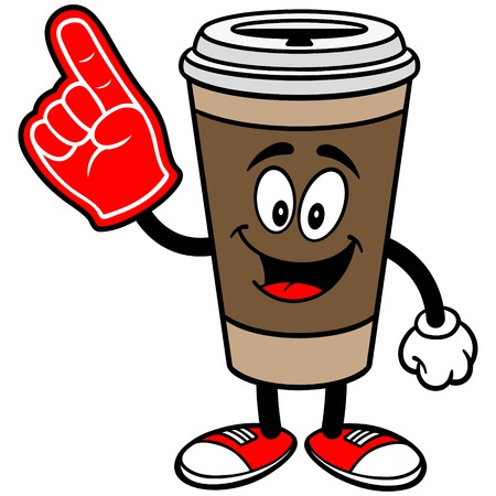 폼 핑거가있는 커피 일러스트