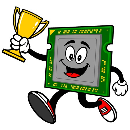 gpu: Computer Processor Running with Trophy Illustration