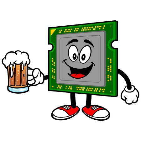 processor: Computer Processor with Beer Illustration