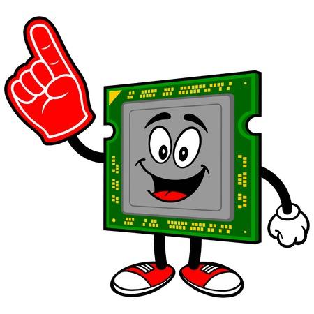 foam finger: Computer Processor with Foam Finger Illustration