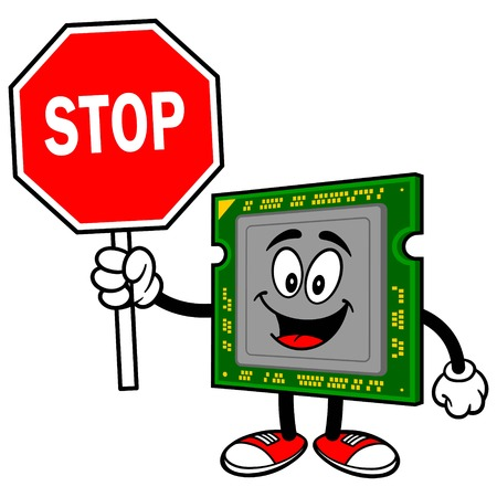processor: Computer Processor with a Stop Sign