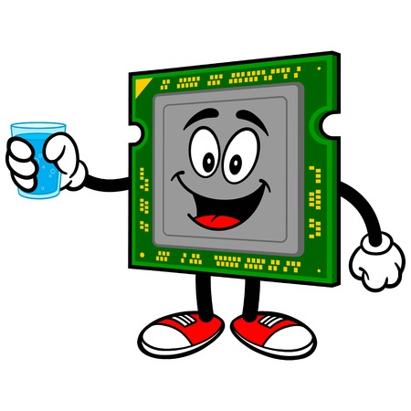 capacitor: Computer Processor with a Cup of Water Illustration