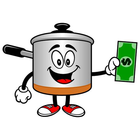 Cooking Pot with a Dollar Illustration