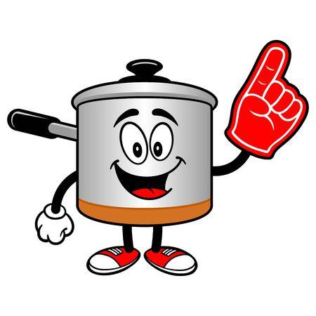 foam finger: Cooking Pot with a Foam Finger Illustration