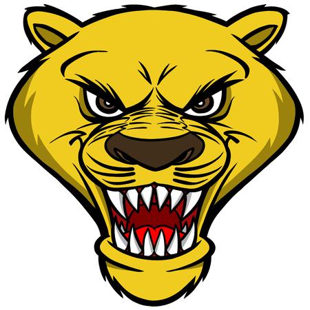 mountain lions: Cougar Mascot Head Illustration