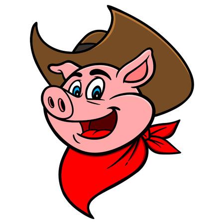 Cowboy BBQ Pig Illusztráció