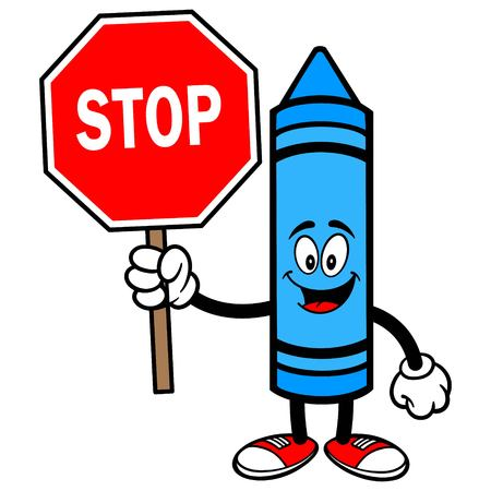 Crayon with a Stop Sign