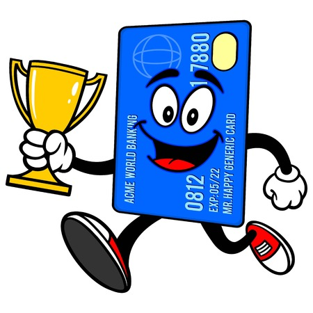 prepaid card: Credit Card Running with Trophy Illustration