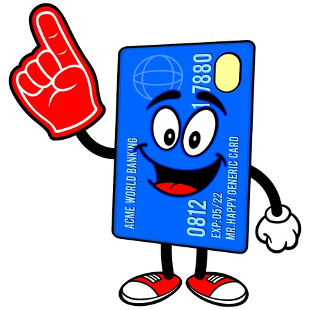 Credit Card with Foam Finger Çizim