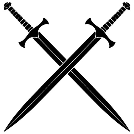 Crossed Swords Silhouette Vettoriali