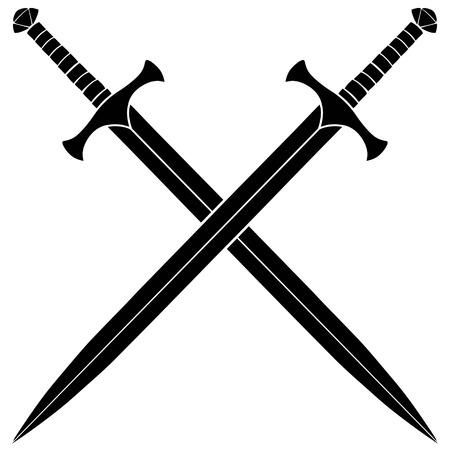 Crossed Swords Silhouette Vectores