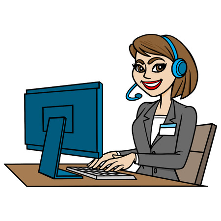 switchboard operator: Customer Service Illustration