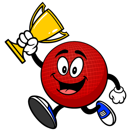 dodge: Dodgeball Mascot Running with Trophy