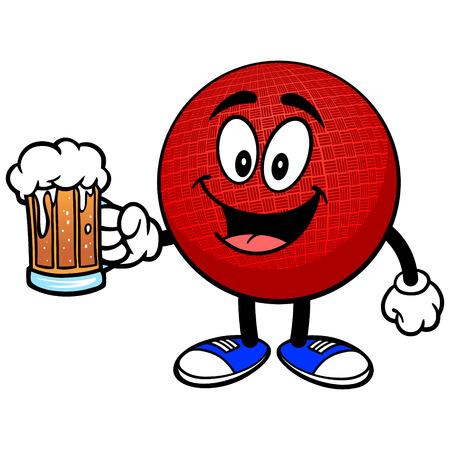Dodgeball Mascot with Beer Ilustração
