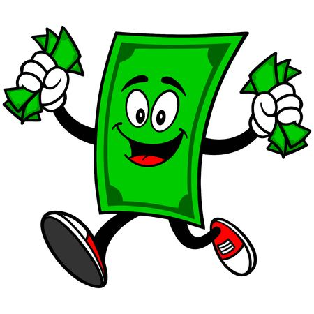 us paper currency: Dollar Mascot with Money Illustration