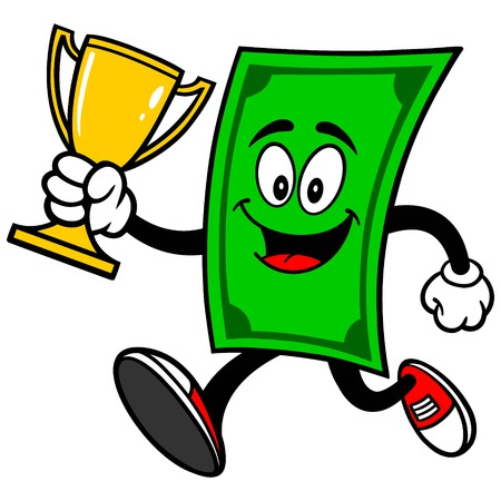 bringing home the bacon: Dollar Running with Trophy