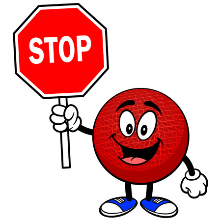 Dodgeball la mascota con la señal de Stop Foto de archivo - 57402821