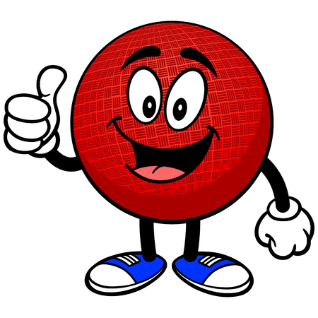 dodge: Dodgeball Mascot with Thumbs Up Illustration