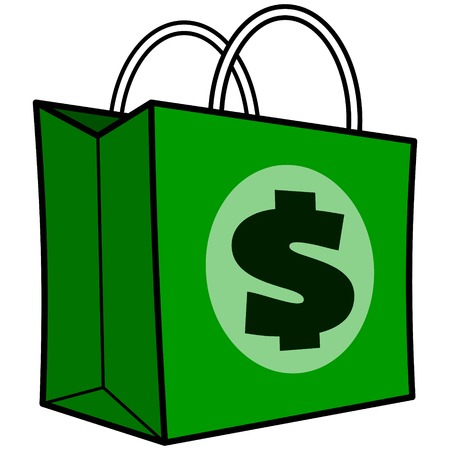 us paper currency: Dollar Shopping Bag Illustration