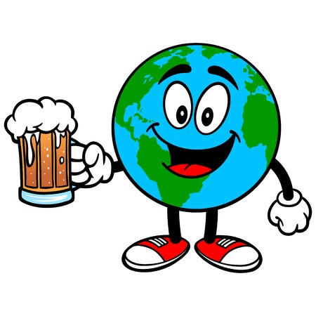 Earth Mascot with Beer