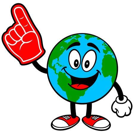 foam finger: Earth Mascot with Foam Finger Illustration