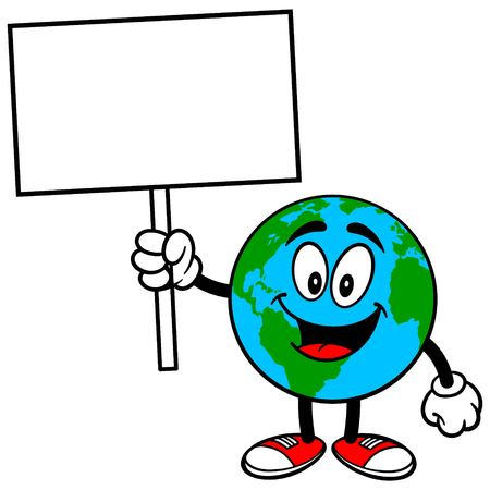 earth from space: Earth Mascot with Sign