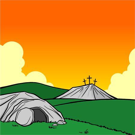Easter Tomb Sunset Illustration