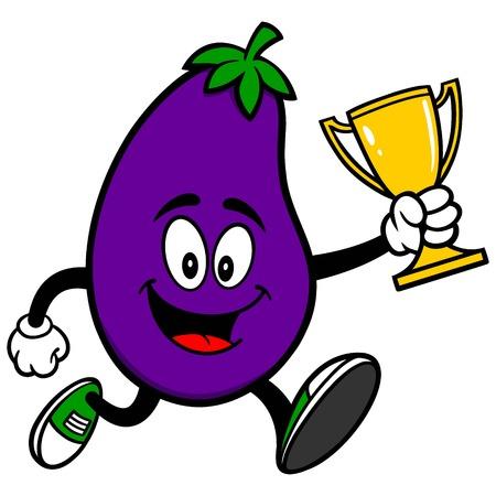 Aubergine Hardlopen met een Trofee Stock Illustratie