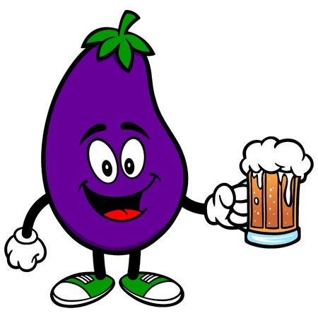 Eggplant with a Beer Illustration