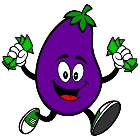 cash back: Eggplant Running with Money Illustration