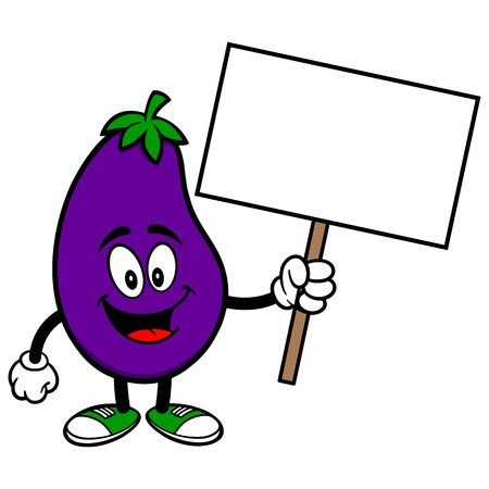 Aubergine met een Teken Stock Illustratie