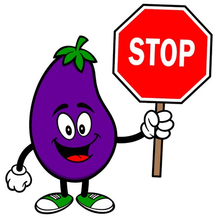 green street: Eggplant with a Stop Sign