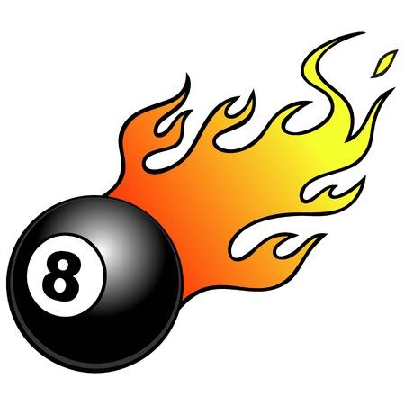 bola ocho: Bola ocho con las llamas