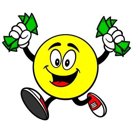 race winner: Emoticon Running with Cash Illustration