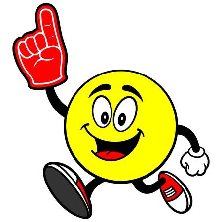 foam finger: Emoticon Running with Foam Finger Illustration