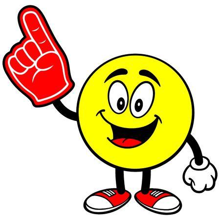 이모티콘과 거품 손가락