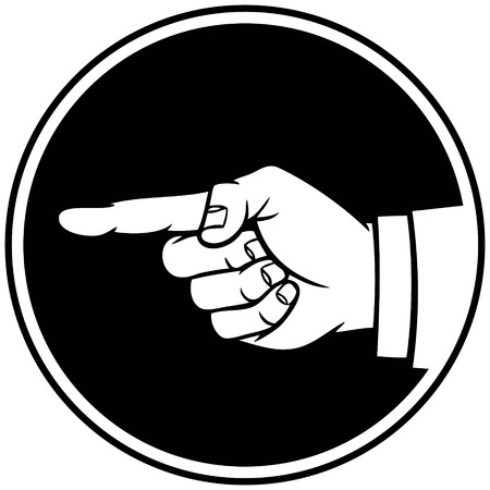 hand pointing: Hand Pointing Insignia Illustration