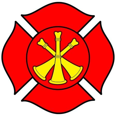 Firefighter Bugle Badge Imagens - 57449747