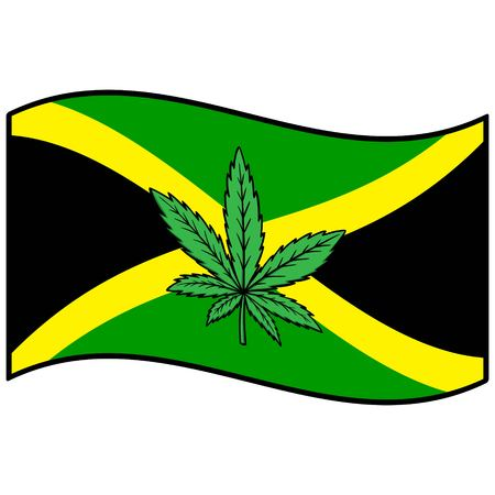jamaica: Flag of Jamaica and Marijuana