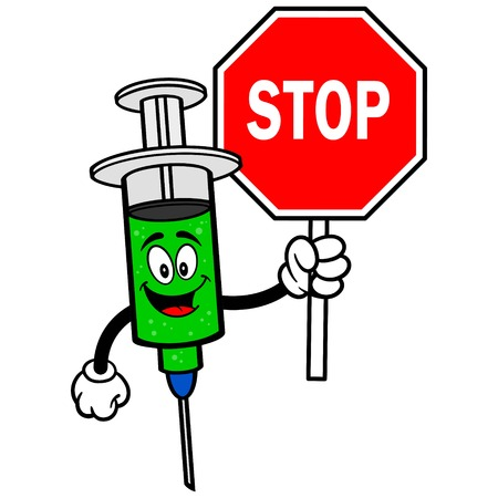flu immunization: Flu Shot with Stop Sign Illustration