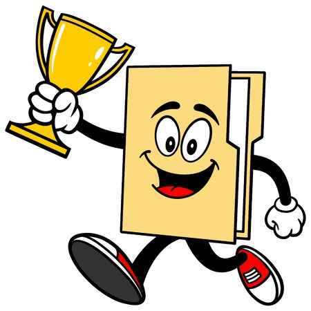 Folder Mascot Running with Trophy